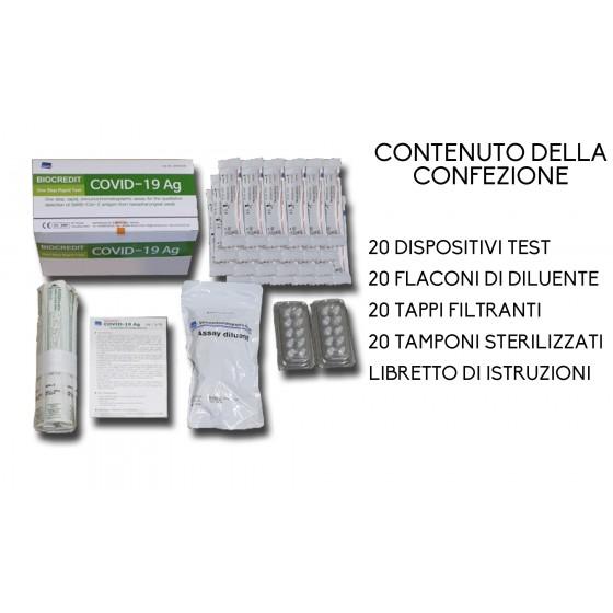 Tampone rapido, Kit con 20 test per COVID-19 (€25.00 a test)